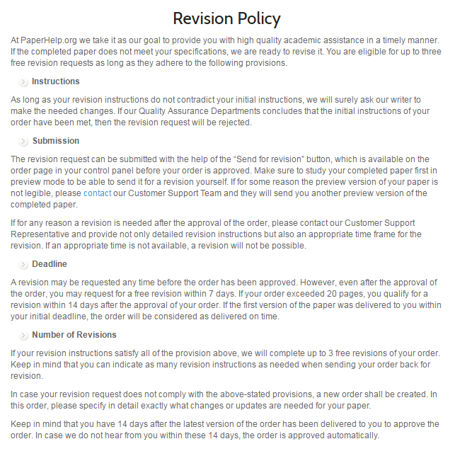 paperhelp.org revision policy