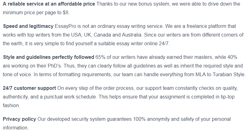 essaypro.com guarantees