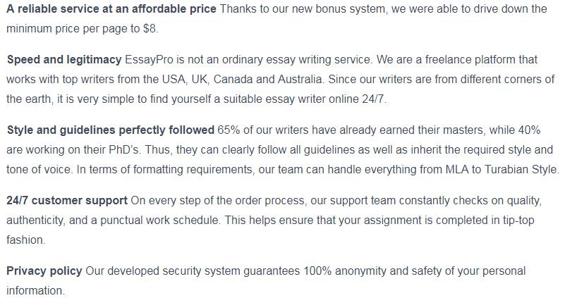 essaypro.com guarantees